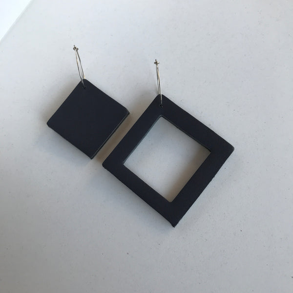 Geo Mini Square Earrings | Charcaol-SMENA