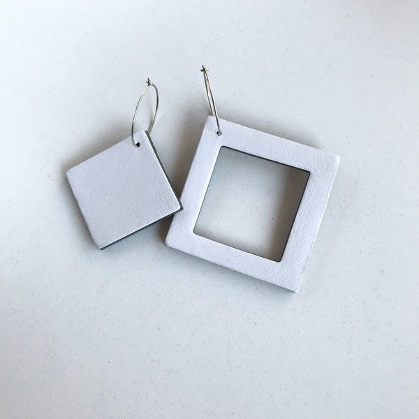 Geo Mini Square Earrings | White-SMENA