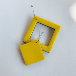 Geo Mini Square Earrings | Yellow-SMENA