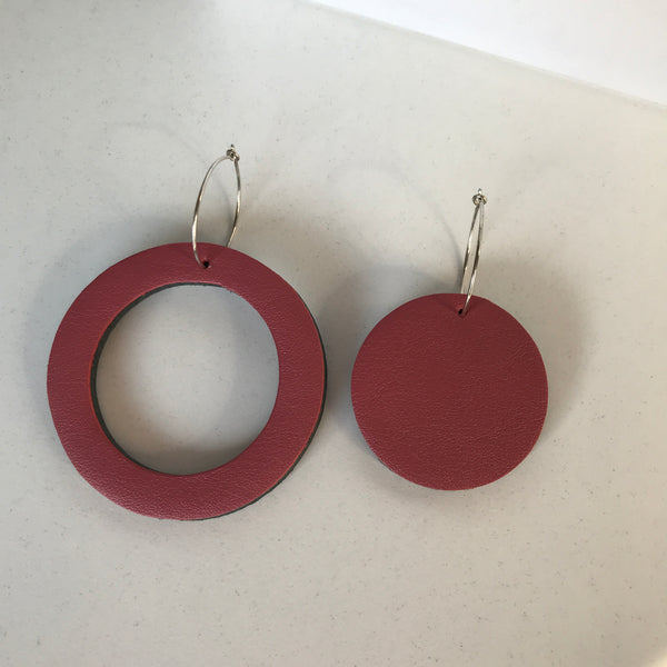 Geo Mini Circle Earrings | Dusty Pink-SMENA
