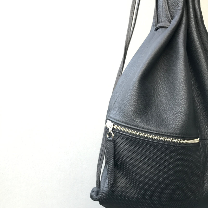 Silna | Drawstring Backpack | Black With Perforated leather