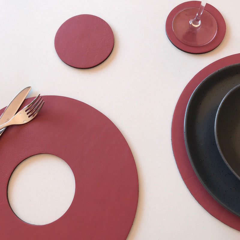 Let's eat & drink Circular Placemat Coaster set | Dusty Pink