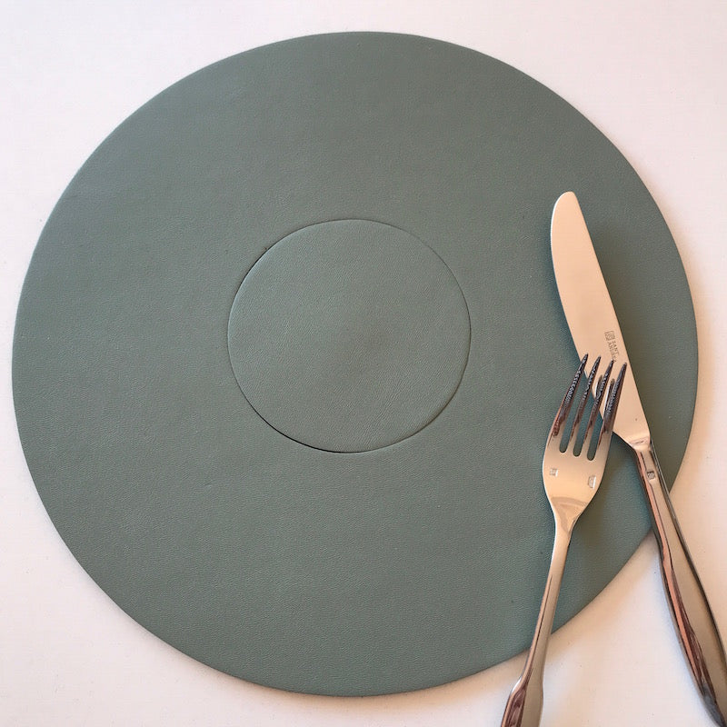 Let's eat & drink Circular Placemat Coaster set | Sage-SMENA