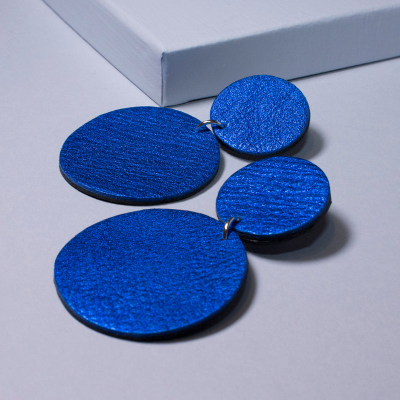 Aria Earrings | Metallic Electric Blue