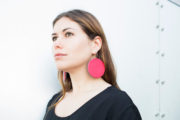 Geo Disc Earrings | Pale Pink-SMENA