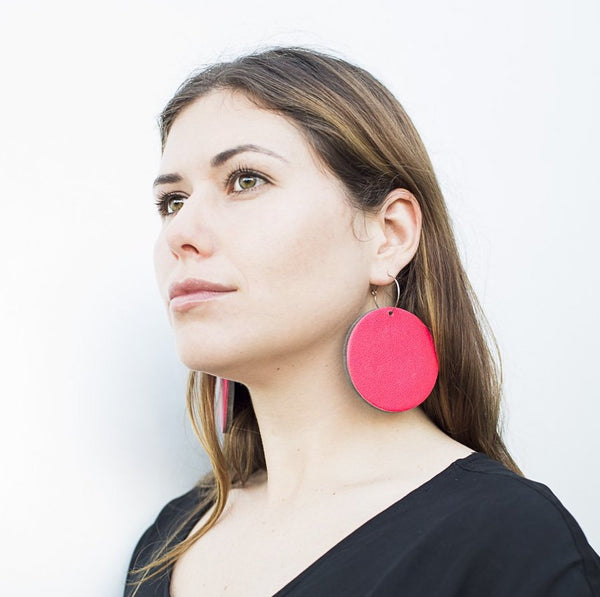 Geo Disc Earrings | Black