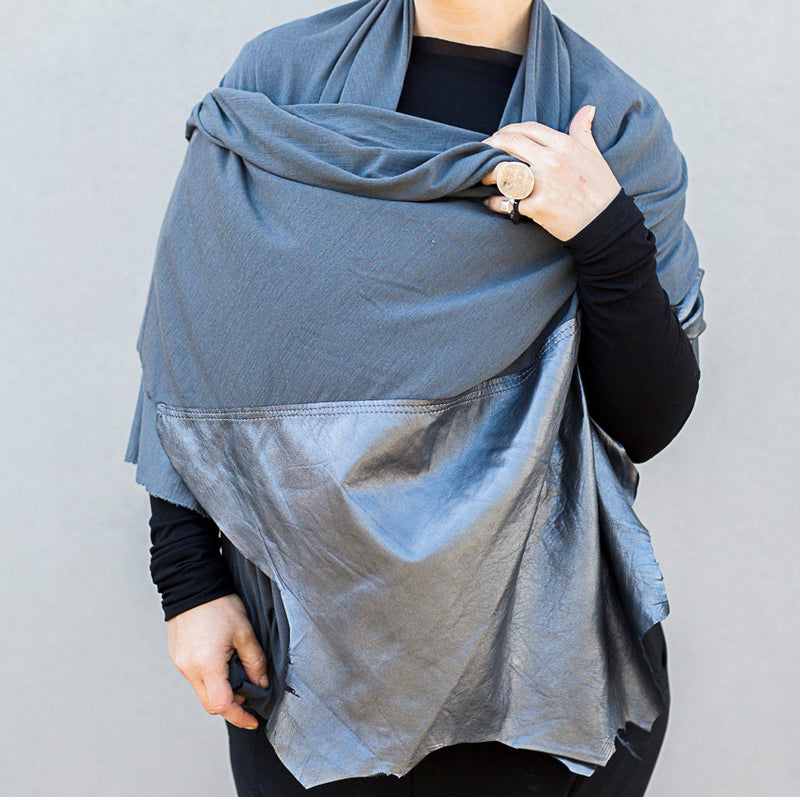 RAW Leather Merino Scarf | Grey and metallic grey-SMENA