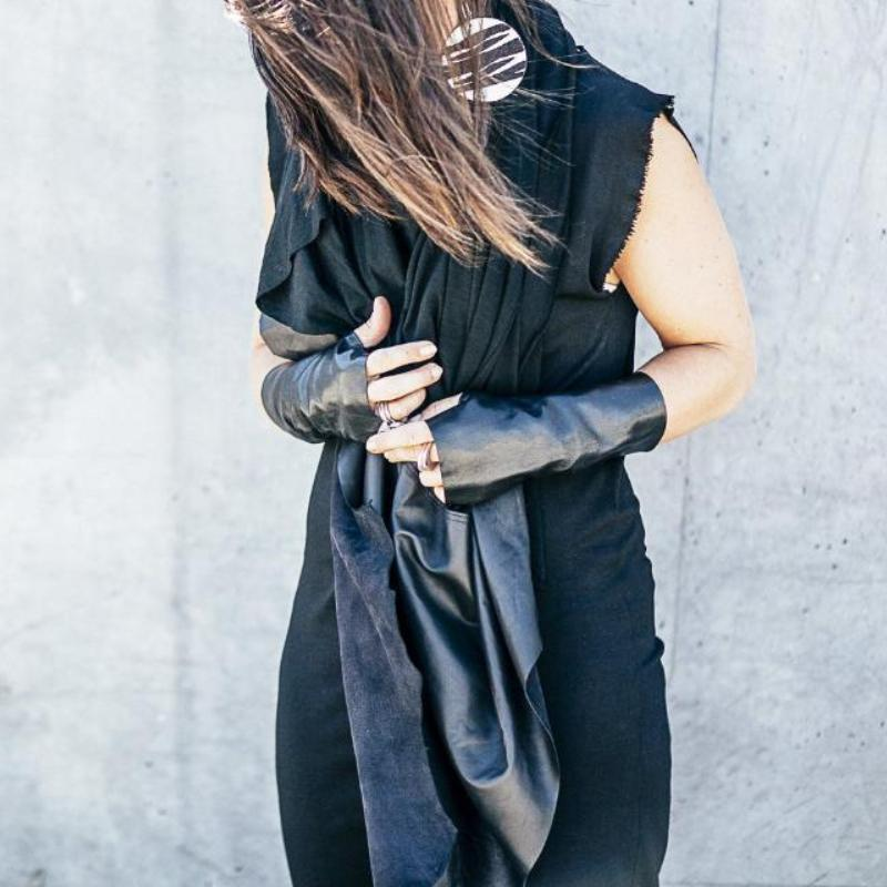 RAW Leather Merino Scarf | Black-SMENA