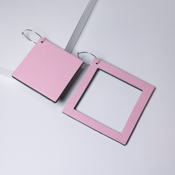 Geo Square Earrings | Pale Pink