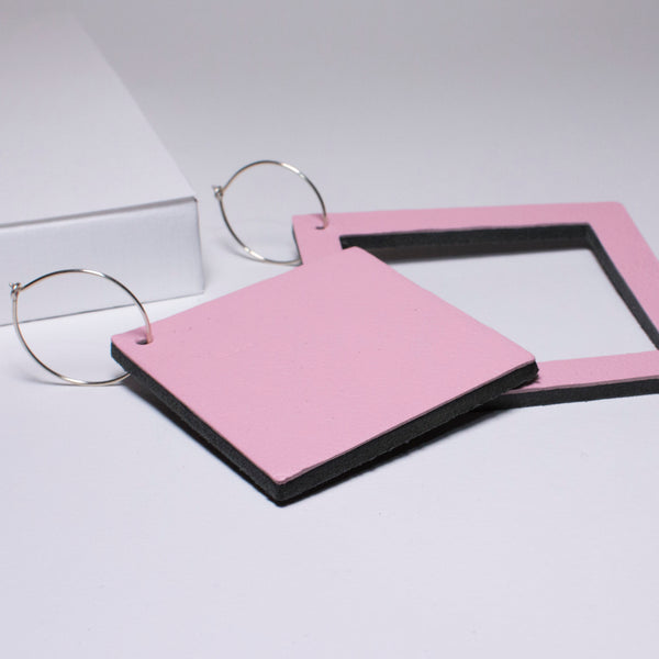 Geo Square Earrings | Pale Pink-SMENA