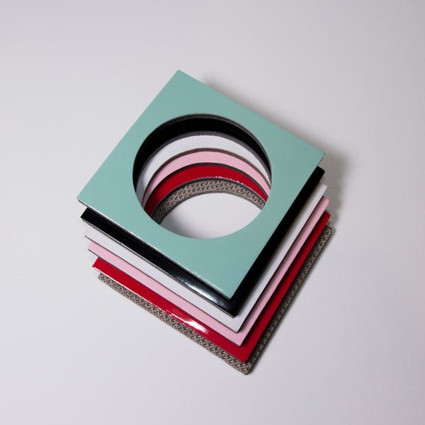 Geo Square Bangle | Red