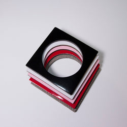 Geo Square Bangle | Black-SMENA