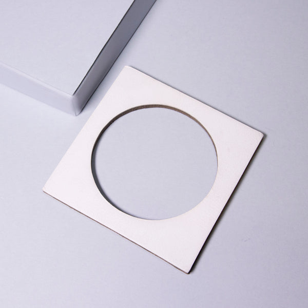 Geo Square Bangle | White-SMENA