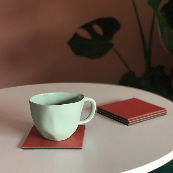 Let's Drink | Square Coaster Set | Coral