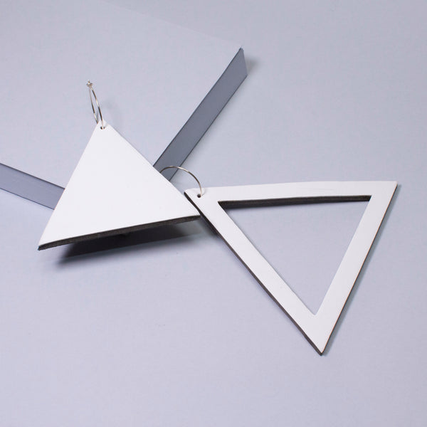 Geo Triangle Earrings | White-SMENA