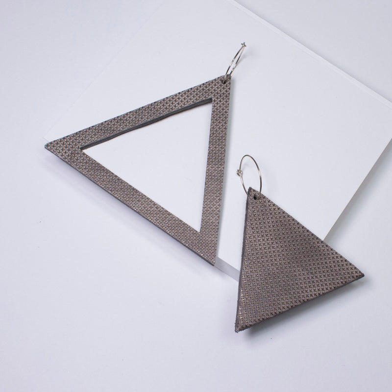 Geo Triangle Earrings | Pewter-SMENA