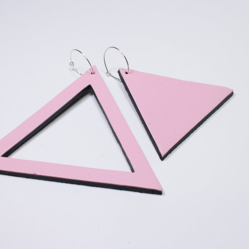 Geo Triangle Earrings | Pale Pink-SMENA
