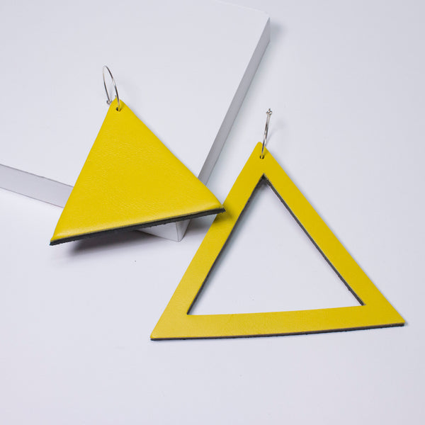 Geo Triangle Earrings | Yellow-SMENA