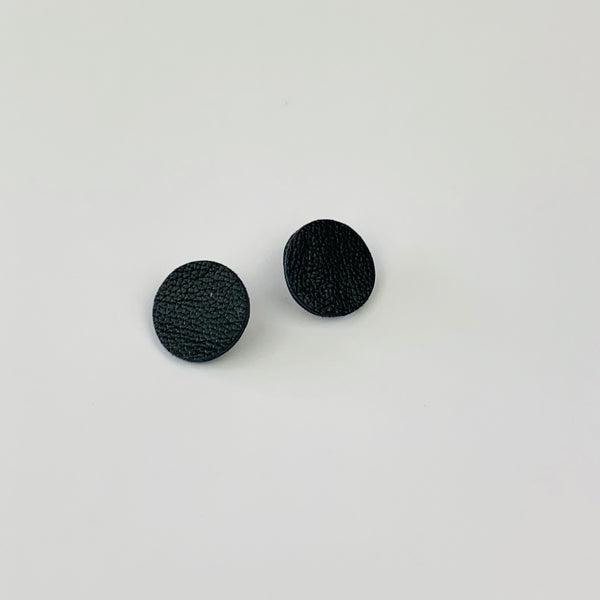 Mini Moon Stud Earrings | Black