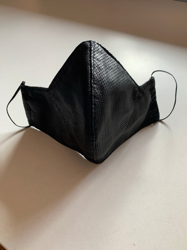 Silna Leather Cotton Mask | Black