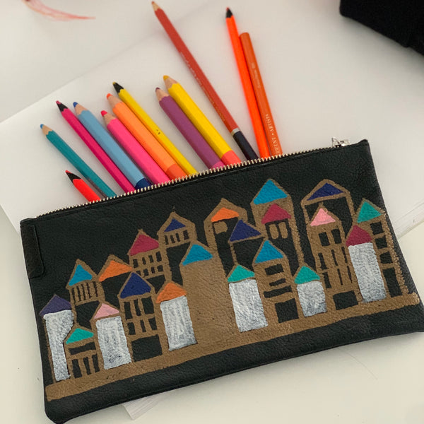 Doma20 | Utility Purse | Hand-painted Houses 2 of 6