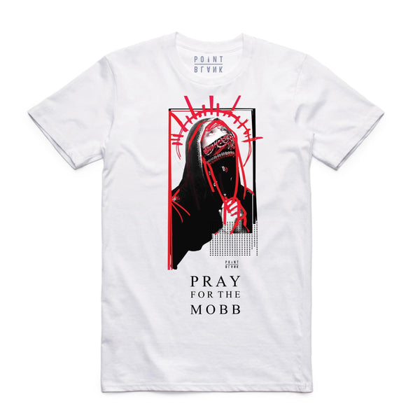 Point Blank Pray For The Mobb White Men T-Shirt 100987-778