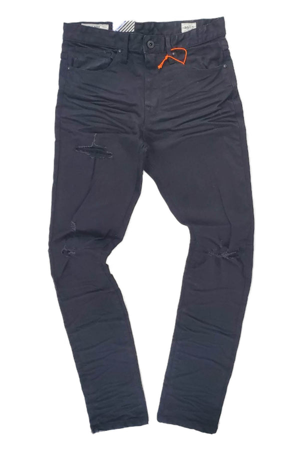 Smoke Rise Tapered Ripped Knee jet black men jeans JP20122