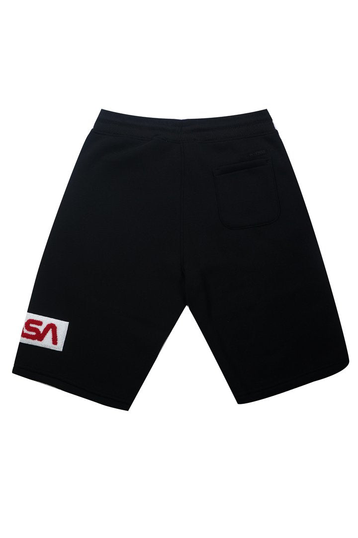 SouthPole Chenille Patch Fle Black Men Short 20191-N1668