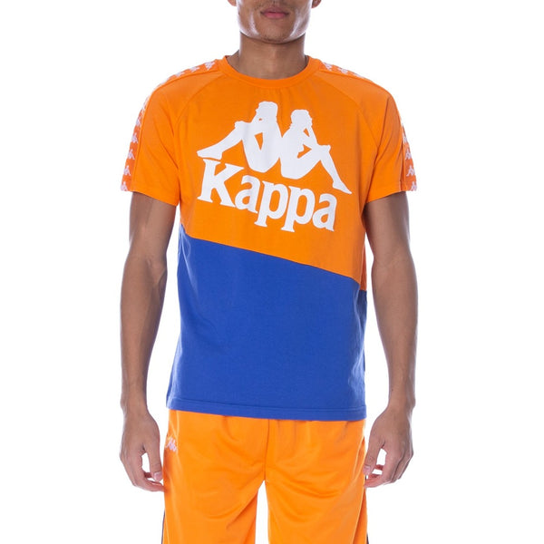 KAPPA 222 BANDA BALDWIN Blue Royal ORANGE WHITE MEN T-SHIRT 304NQB0