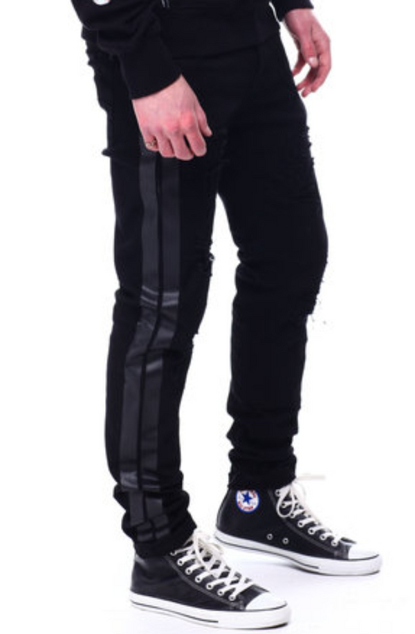 PREME DISTRESSED BLACK STRIP MEN Jeans PR-WB-299