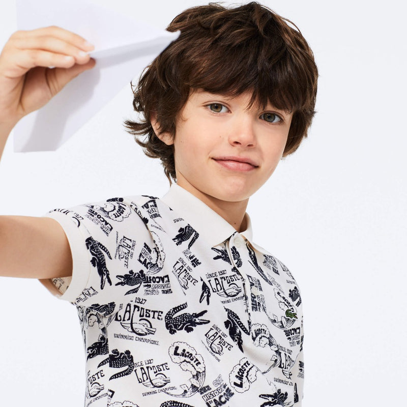 LACOSTE Heritage Print Cotton Piqué White/Navy Blue Kids Polo Shirt PJ4916