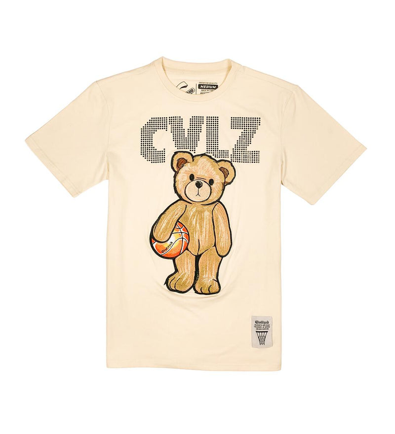 Civilized Bear Rhimstone  Cream Men Tee CV2149