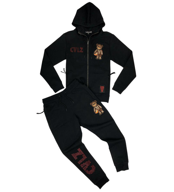 Civilized Bear Rhimstone Black Men Hoodie + Jogger Set  CV2184-2166