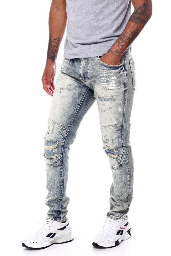 Smoke Rise ripped knee Moto blue men jeans JP20234