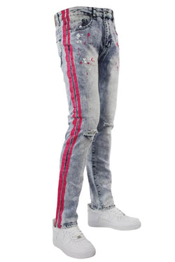 Waimea neon printed stripe blue/pink skinny fit men jeans M4701DB