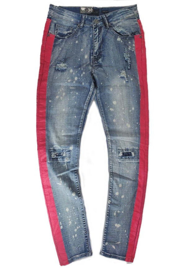 Waimea bleach splatter blue wash/pink men  jeans M4708R1D