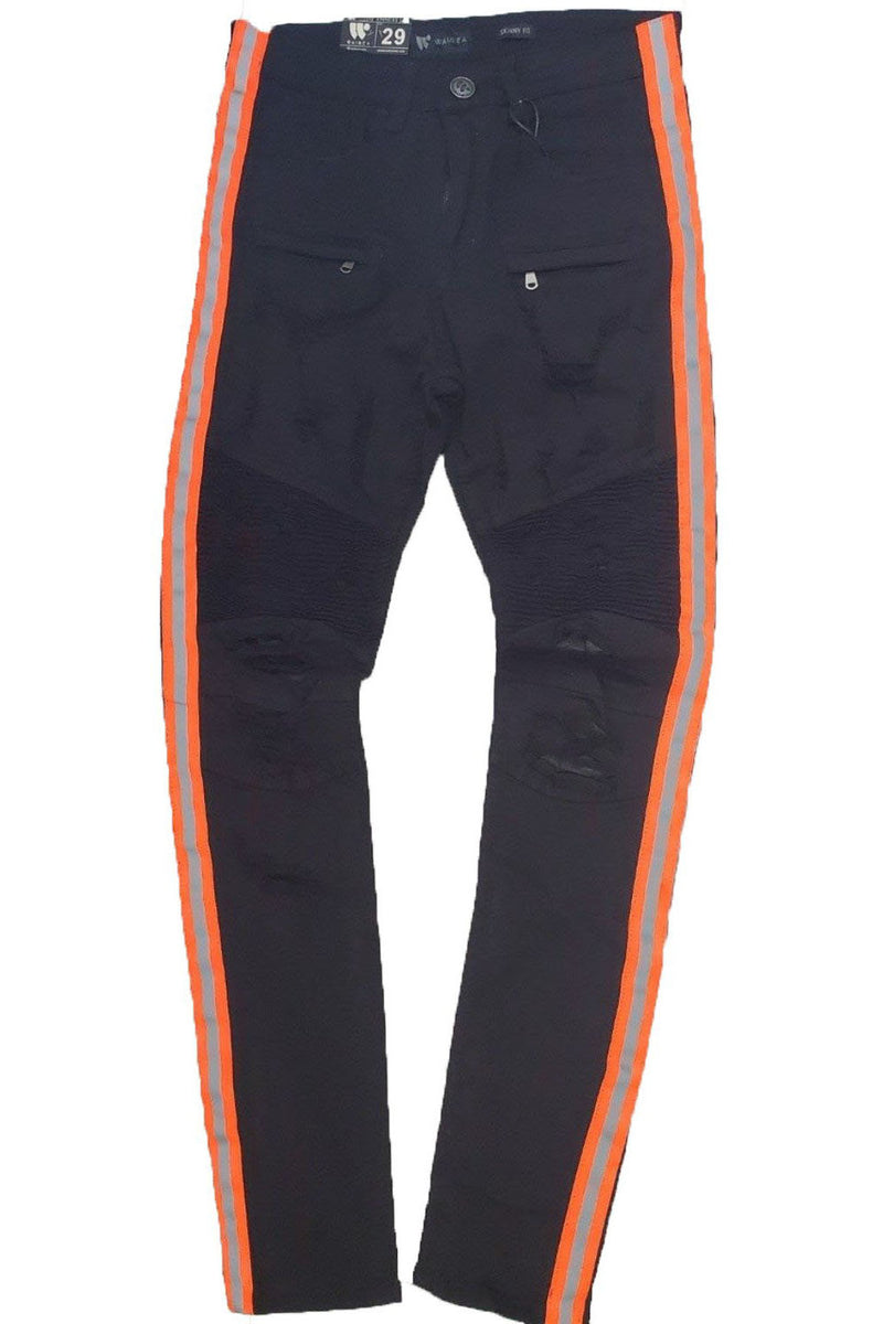 WAIMEA Reflective SIDE TAPE BLACK/NEON ORANGE SKINNY FIT MEN JEANS M4874R1T