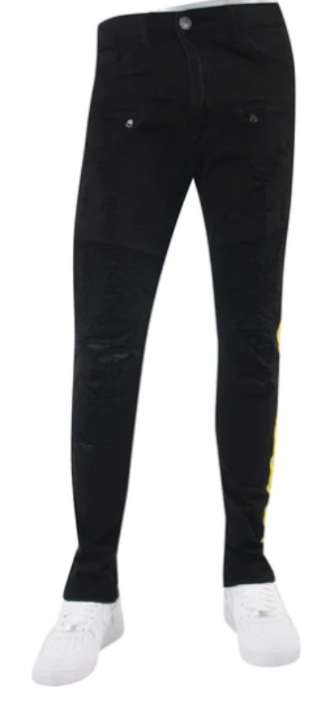WAIMEA Reflective SIDE TAPE BLACK/NEON YELLOW MEN SKINNY JEANS M4874R1T
