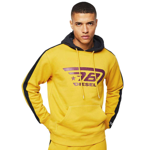 Diesel Umlt- Brandon Yellow Men Hoodie Sweatshirt 00CEMD0SAWA