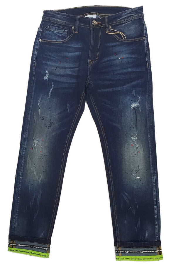 DNM COLLECTION Good VIBES BLUE/NEON GREEN MEN JEANS DNM19-500