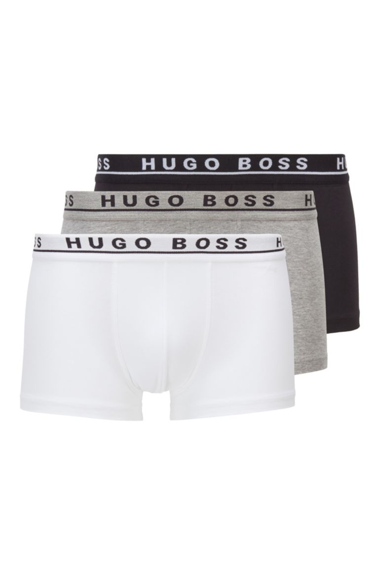 Hugo Boss Cotton Stretch White/Grey/Black Men Boxer Trunk 3-Pack 50325403