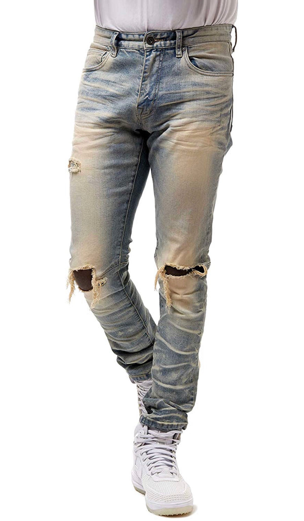 Smoke Rise Tapered Ripped Knee Pst Light blue men jeans JP20122