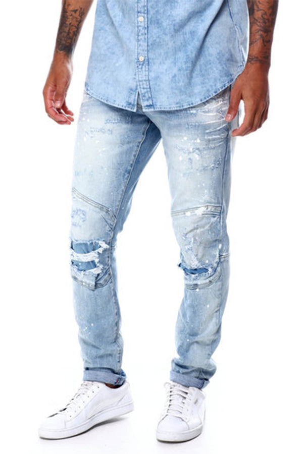 Smoke Rise painted ripped knee Moto light blue men jeans JP20234