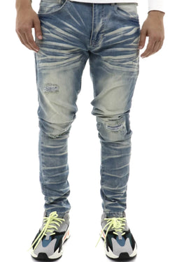 Smoke Rise ltblmd light ripped tapered men jeans JP9720