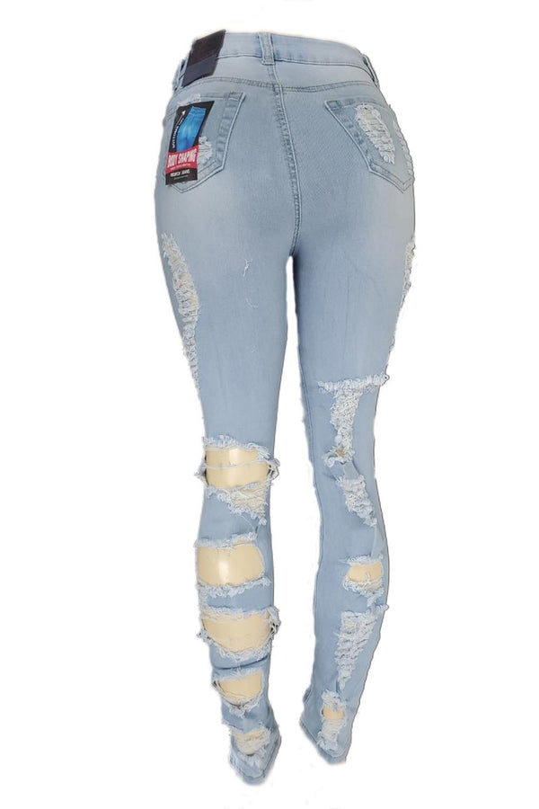 Red Fox heavy ripped light blue highwaist women jeans PA911