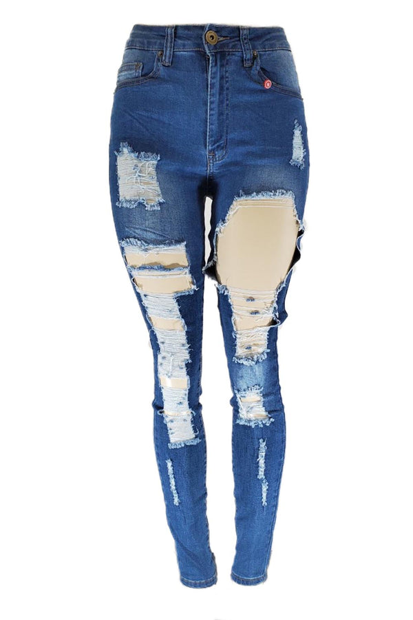 Red Fox  ripped m blue highwaist women skinny jeans PA0323