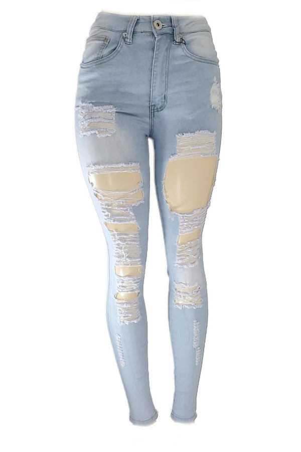 Red Fox ripped light blue highwaist women skinny jeans PA0323