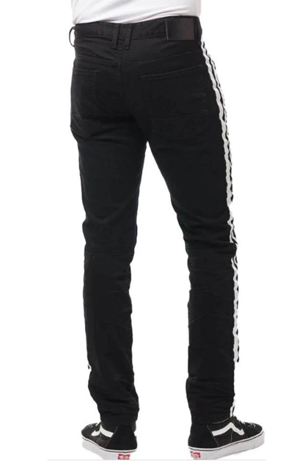 Smoke Rise graffiti side Stripe black men jeans JP20349