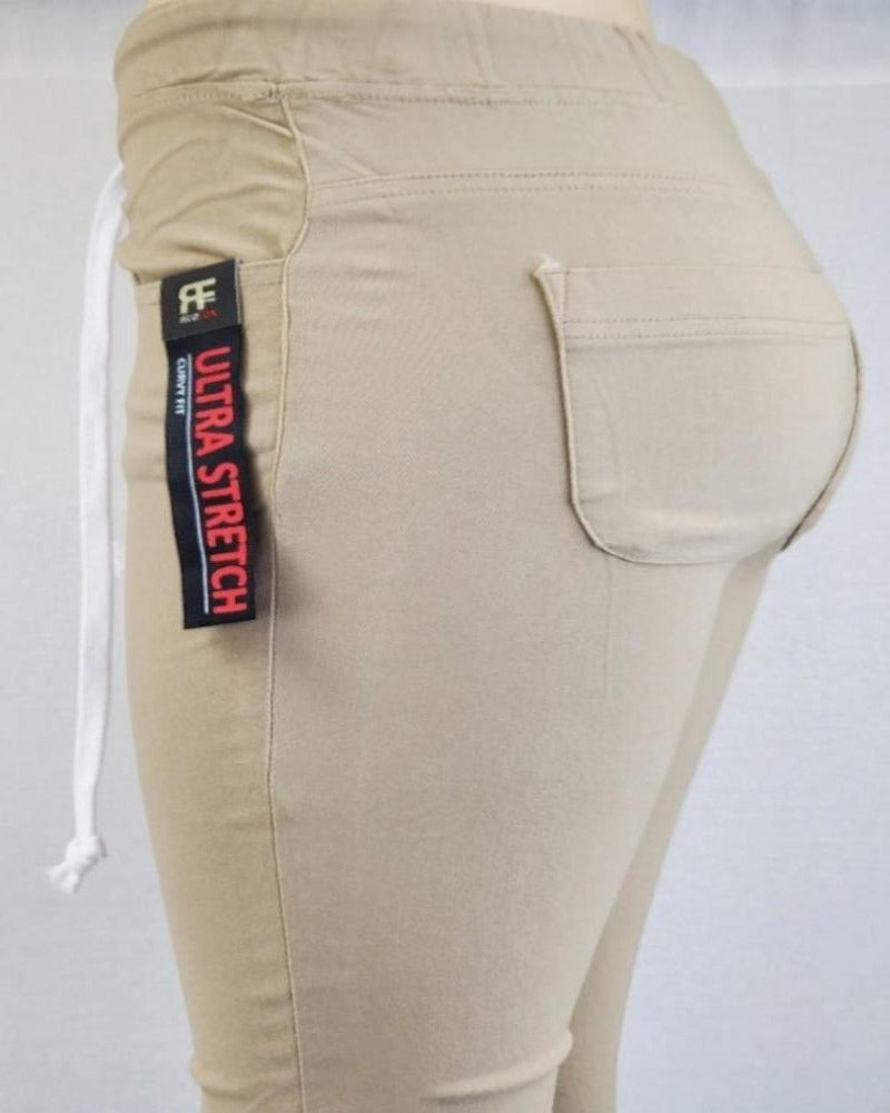 RED FOX RAYON KHAKI ULTRA STRETCH WOMEN JOGGER Pants PL662