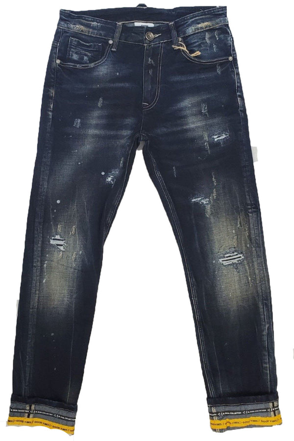 DNM COLLECTION Good VIBES BLUE/NEON YELLOW MEN JEANS DNM19-502